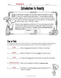 Introduction to Density Worksheet by Adventures in Science ...