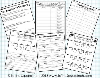 Integers Interactive Notebook by To the Square Inch- Kate