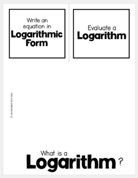 Introduction to Logarithms (Algebra 2 Foldable) by Lisa