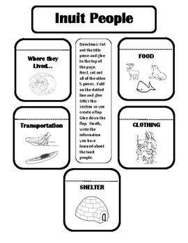 Inuit People- Interactive Notebook Worksheet by CuteNPink