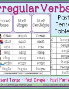 Irregular verbs past tense tables also by nyla   crafty teaching tpt rh teacherspayteachers