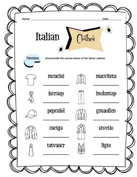 Italian Clothing Items Worksheet Packet by Sunny Side Up
