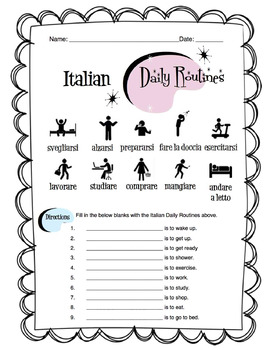Italian Daily Routines Worksheet Packet by Sunny Side Up