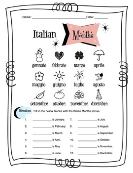 Italian Months Of The Year Worksheet Packet by Sunny Side
