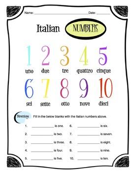 Worksheet Italian Numbers