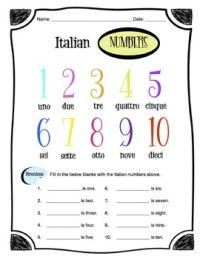 Worksheet Italian Numbers