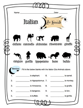 Italian Zoo Animals Worksheet Packet by Sunny Side Up
