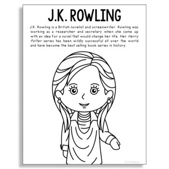 J.K. Rowling, Famous Author Informational Text Coloring