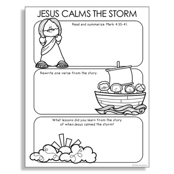 JESUS CALMS THE STORM Bible Story Illustrated Notes