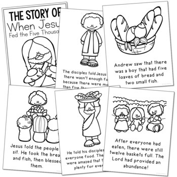 JESUS FEEDS THE FIVE THOUSAND Bible Story Coloring Pages