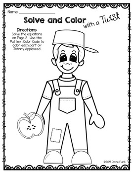 JOHNNY APPLESEED Addition Coloring Worksheet FREEBIE by