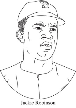 Jackie Robinson Realistic Clip Art, Coloring Page and