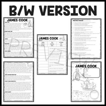 James Cook Biography Reading Comprehension Worksheet
