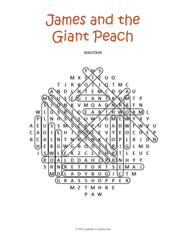 James and the Giant Peach Word Search by Puzzles to Print
