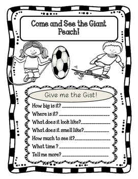 James and the Giant Peach Activities by Esther's Books