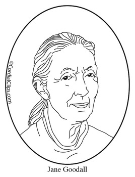 Jane Goodall Clip Art, Coloring Page or Mini Poster by