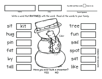 January Homework for Emergent Readers No Prep by