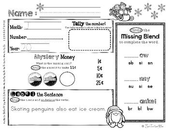 January Daily Literacy & Math Morning Work {Kindergarten