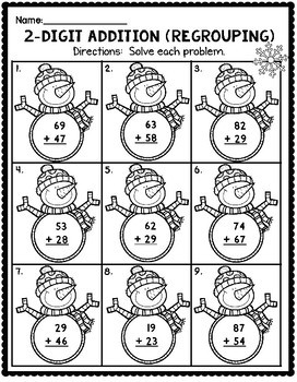 January Math Worksheets for 2nd Grade by Teaching Second
