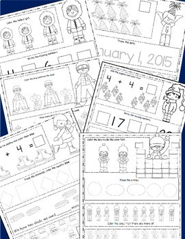 January Math Worksheets, Winter Themed Daily Math, January