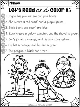 January Reading Comprehension Activities by Teaching