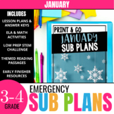 No Prep January Sub Plans for 3rd Grade & 4th Grade
