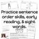 Winter Sight Words Sentence Builders {Daily 5 & Homework