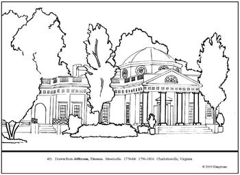 Jefferson, Thomas. Monticello. Coloring page and lesson