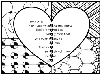 John 3:16 Valentine Coloring Page Zentangle Printable by