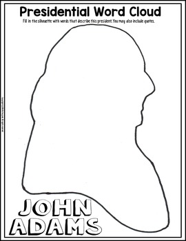John Adams Coloring Page and Word Cloud Activity by