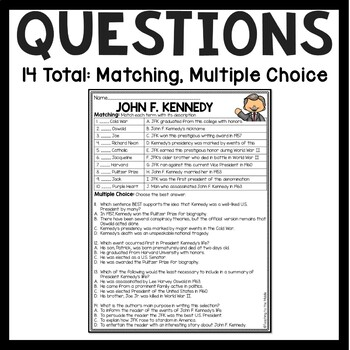 John F. Kennedy Biography Reading Comprehension Worksheet