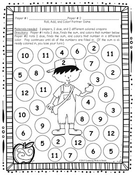 Johnny Appleseed MATH FREEBIE: Roll, Add, and Color