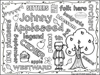 Johnny Appleseed Vocabulary WORD ART FREEBIE by Debbie