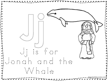 Jonah and the Whale Color and Trace Worksheet. Preschool