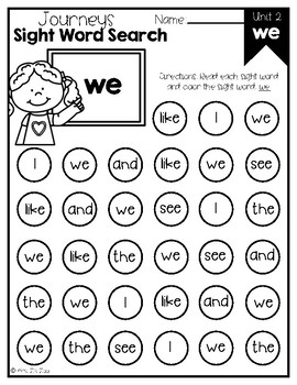 Journeys 2014 & 2017 Unit 2 Kindergarten Sight Word Search