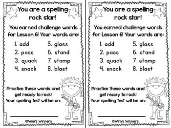 Journeys First Grade Challenge Spelling Words: Unit 2 by