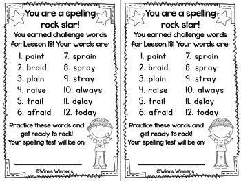 Journeys First Grade Challenge Spelling Words: Unit 4 by