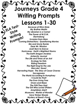 Journeys Grade 4-Writing Prompts Bundle Lessons 1-30 by