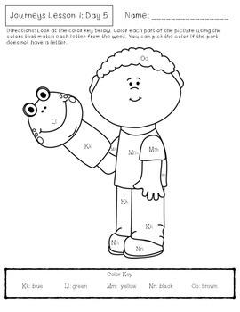 Journeys Kindergarten Lesson 1 Homework by Kawaii