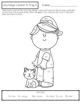 Journeys Kindergarten Lesson 3 Homework & Classwork by