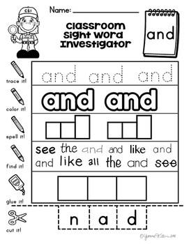 Kindergarten Journeys Sight Word Worksheets: Classroom