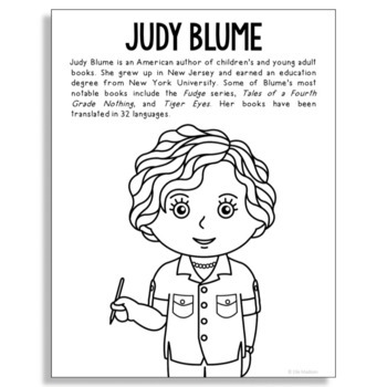 Judy Blume, Famous Author Informational Text Coloring Page