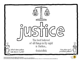 Justice Virtue Word Baha'i Quote Coloring Page by Little