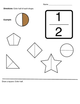 K-1 Fractions 1/2 Half Activity Worksheet by Klynoot