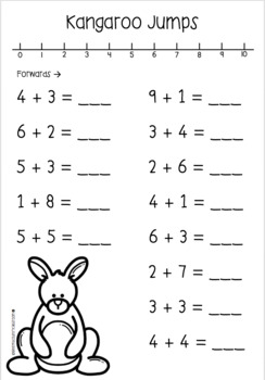 Kangaroo Number Line Addition Questions by Katelyn's