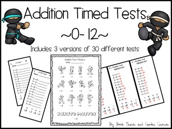 Karate Addition Timed Tests ~0-12~ by Book Fairies and