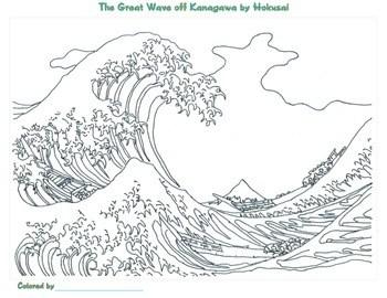 Katsushika Hokusai Coloring Pages by Smart Kids Worksheets