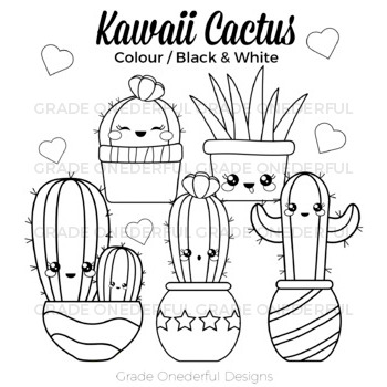 Kawaii Cactus Clipart: Color, Black and White, Cactus