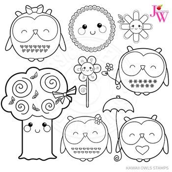 kawaii owls cute digital