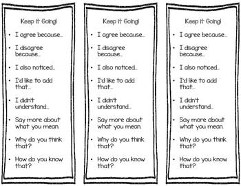 Sentence Starters for Class Discussion Accountable Talk by
